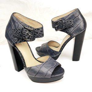 COACH Maze Leather Croc Embossed Platform Sandals